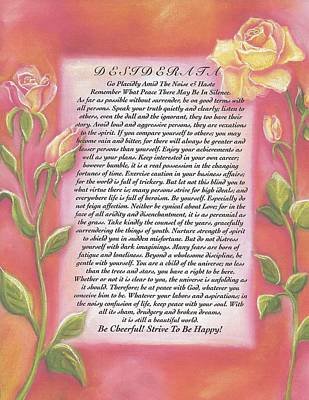 Yellow Roses Desiderata Poem Poster by Desiderata Gallery