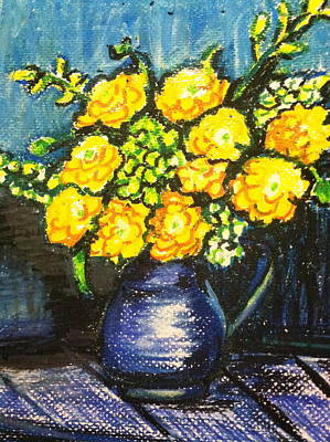 Yellow Roses In Blue Vase Poster