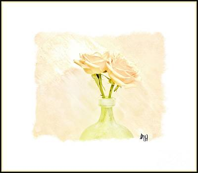 Yellow Roses In Lime Vase Poster by Marsha Heiken