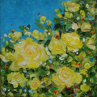 Yellow Roses Poster by Judith Rhue