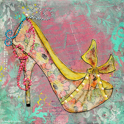 Yellow Shoe With Watercolor Flower Print Poster by Janelle Nichol
