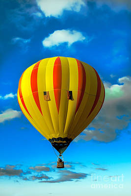 Yellow Sripped Hot Air Balloon Poster