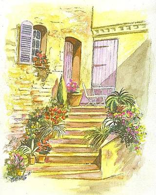 Poster featuring the painting Yellow Steps by Carol Wisniewski