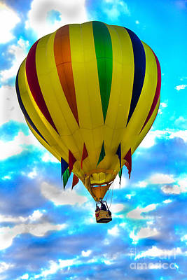 Yellow Striped Hot Air Balloon Poster by Robert Bales