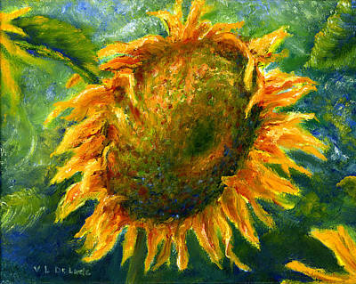 Yellow Sunflower Art In Blue And Green Poster by Lenora  De Lude
