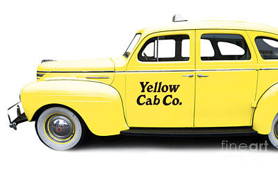 Yellow Taxi Cab Poster by Edward Fielding