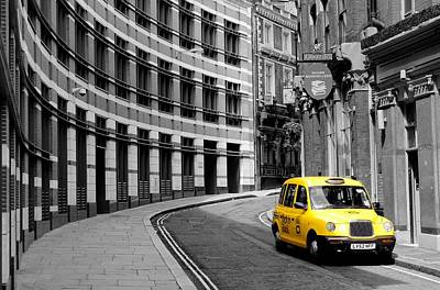Yellow Taxi In London Poster by Jim Hughes