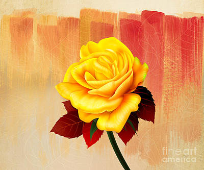 Yellow Tea Rose Poster by Bedros Awak