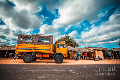 Yellow Truck In Africa Poster by Sabino Parente