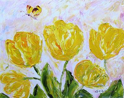 Yellow Tulips And Butterfly Poster