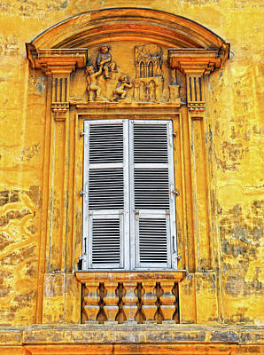 Poster featuring the photograph Yellow Window Nice France by Dave Mills