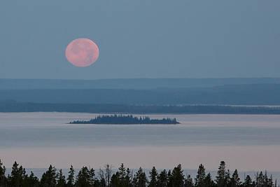 Yellowstone Moonset Poster