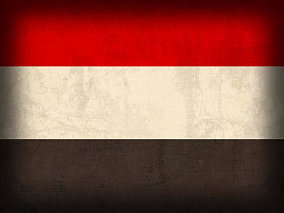 Yemen Flag Distressed Vintage Finish Poster by Design Turnpike