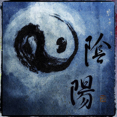 Poster featuring the photograph Yin  Yang Brush Calligraphy by Peter v Quenter