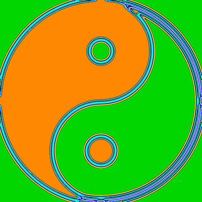 Yin Yang Orange Green Pop Art Poster