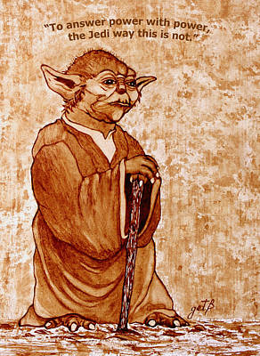 Poster featuring the painting Yoda Wisdom Original Coffee Painting by Georgeta Blanaru