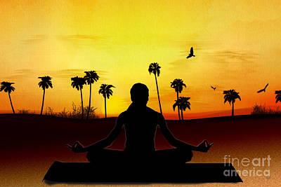 Yoga At Sunrise Poster by Bedros Awak