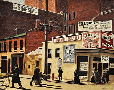 Poster featuring the painting Yonge And Richmond Streets 1899 by Kenneth M  Kirsch