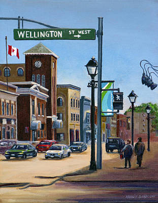 Poster featuring the painting Yonge And Wellington South Side    by Margit Sampogna