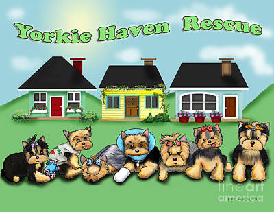 Yorkie Haven Rescue Poster by Catia Cho