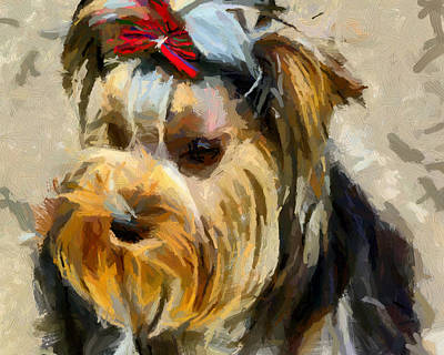 Poster featuring the painting Yorkshire Terrier by Georgi Dimitrov