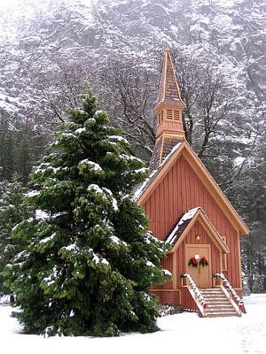 Poster featuring the photograph Yosemite Chapel In Winter by Kevin Desrosiers