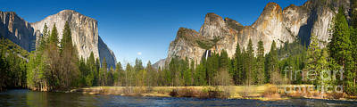 Yosemite Valley And Merced River Poster