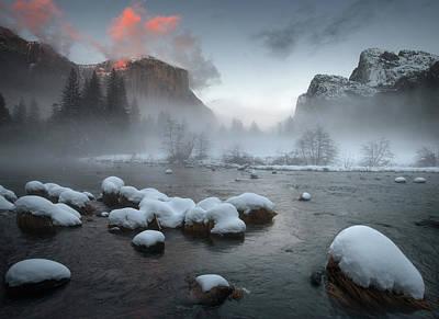 Yosemite Valley At Sunset Poster