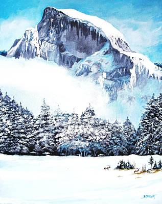 Poster featuring the painting Yosemite Winter by Al Brown