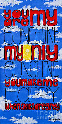 You Are My Sunshine Poster by Melissa Sherbon