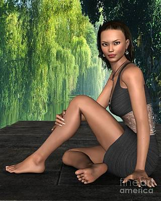 Young Asian Woman Sitting By A Lake Poster