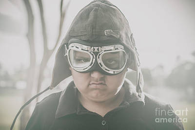 Young Boy Pilot. Battle Ready Poster