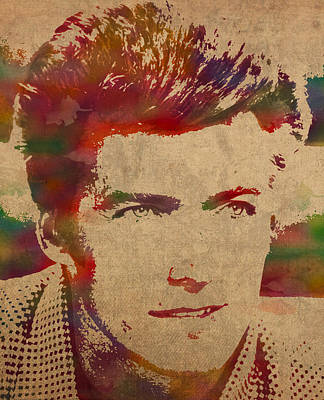 Young Clint Eastwood Actor Watercolor Portrait On Worn Parchment Poster