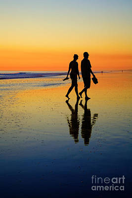 Young Couple On Romantic Beach At Sunset Poster