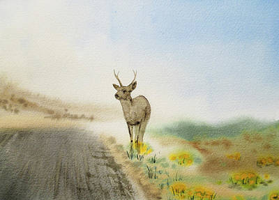 Young Deer On The Foggy Road Poster by Irina Sztukowski