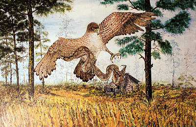 Young Eagle Hunts Poster by Martin Way