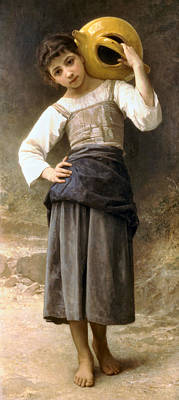 Young Girl Going To The Fountain Poster by William Bouguereau