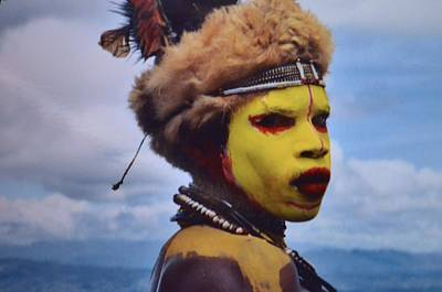 Young Huli Warrior Papua New Guinea Poster