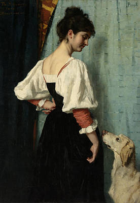 Young Italian Woman With The Dog Puck, Thérèse Schwartze Poster by Litz Collection