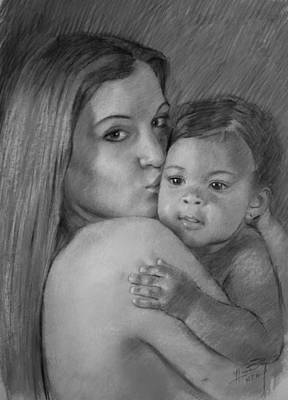 Poster featuring the drawing Young Mother With Her Baby by Viola El