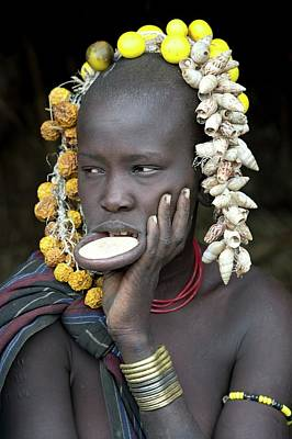 Young Mursi Girl With Lip Plate Inserted Poster