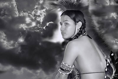 Young Native American Bw  Poster