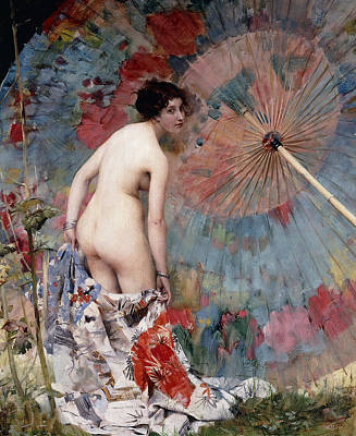 Young Woman And Parasol Poster by Aime Nicolas Morot