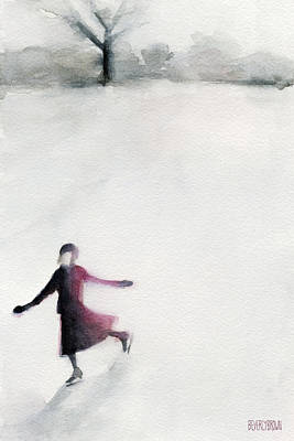 Young Woman Ice Skating Watercolor Painting Poster