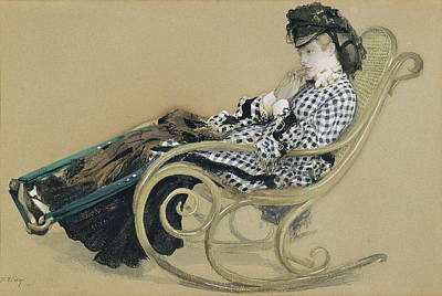 Young Woman In A Rocking Chair, Study For The Painting Poster by Litz Collection