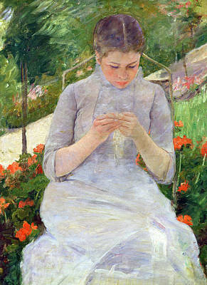 Young Woman Sewing In The Garden Poster