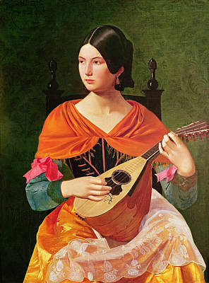 Young Woman With A Mandolin Poster