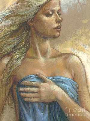 Young Woman With Blue Drape Crop Poster