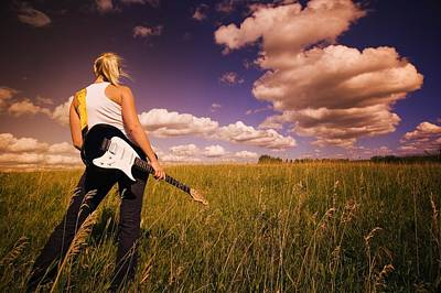 Young Woman With Electric Guitar Poster