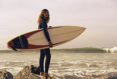 Young Woman With Her Surfboard At The Poster by Ben Welsh